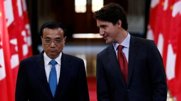 Justin Trudeau and Chinese Premier Li Keqiang in the Hall of Honour on Parliament Hill in 2016