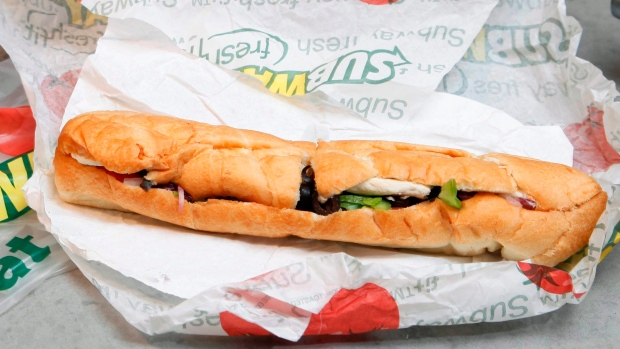A chicken breast sandwich from a Subway restaurant in New York