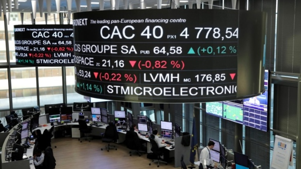 Stock index price for France's CAC 40 and company stock price info at the Paris stock exchange.