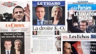 A montage of French newspapers reporting on the winners of the first round of the French election