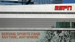 ESPN logo and building are shown in down town Los Angeles