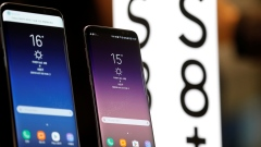 Samsung's Galaxy S8 and S8+ on display at its store in Seoul, South Korea