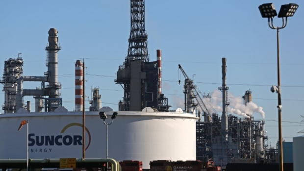 A Suncor refinery is seen in Sherwood Park