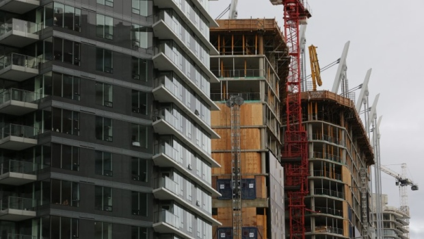 New condominium towers are seen under various stages of construction in downtown Vancouver.