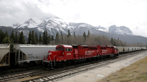 A CP Rail train stopped on the tracks near Canmore, Alberta, April 28, 2017.