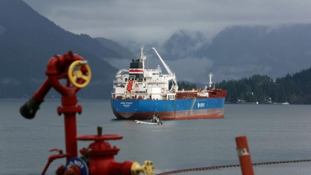 The Nord Steady, a chemical/oil tanker, at a Chevron refinery in Burnaby, B.C.