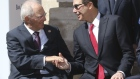 German Finance Minister Wolfgang Schaeuble shakes hands with Steve Mnuchin