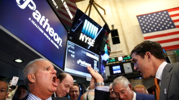 Floor governor Rudy Mass  closes the price to begin trading of Patheon NV, during the company's IPO