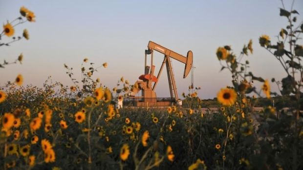 A pump jack at a well site leased by Devon Energy Production Company near Guthrie, Oklahoma.