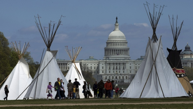 Teepees set up on the National Mall in Washington in 2014 in protest to the Keystone XL pipeline