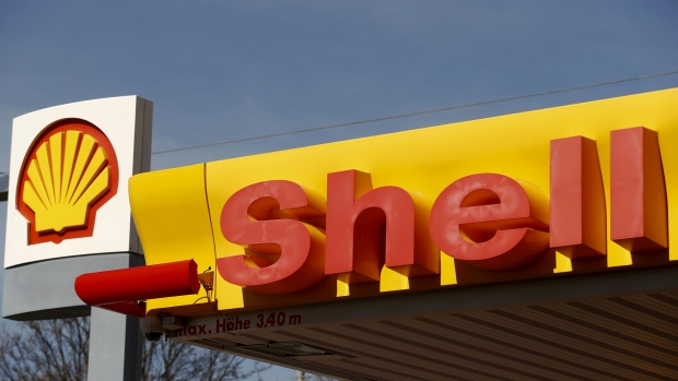 Shell's company logo is pictured at a gas station in Zurich