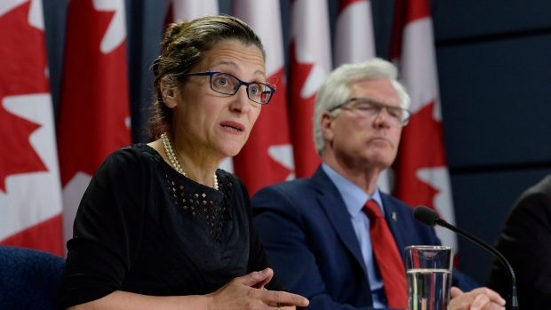 Natural Resources MinisterJames Carr and Foreign Affairs Minister Chrystia Freeland
