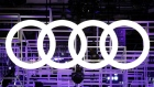 An Audi car logo is seen on media day at the Paris auto show, in Paris, France, September 29, 2016