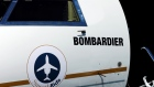 A logo of jet manufacturer Bombardier is pictured on their booth during the European Business Aviati