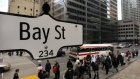 The Bay Street sign is pictured in the heart of the financial district as people walk by in Toronto