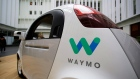 The Waymo driverless car is displayed during a Google event, in San Francisco on Tuesday, Dec. 13