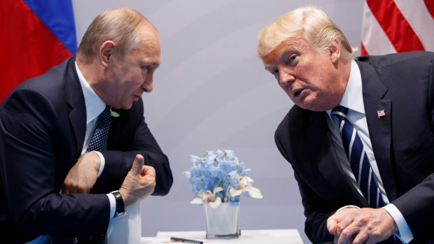 U.S. President Donald Trump meets with Russian President Vladimir Putin at the G-20 Summit, Friday,