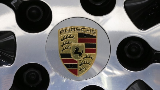 A Porsche logo is seen at the 2017 New York International Auto Show in New York City