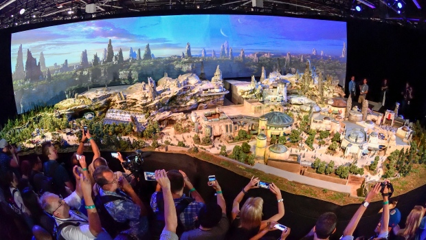 "Members of the media get their first look at a 50-foot, detailed model of ""Star Wars"" land"