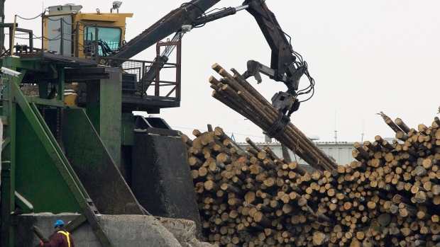 The Tembec softwood lumber plant in operation in Senneterre, Quebec