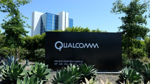 A Qualcomm sign is pictured at one of its many campus buildings in San Diego, California