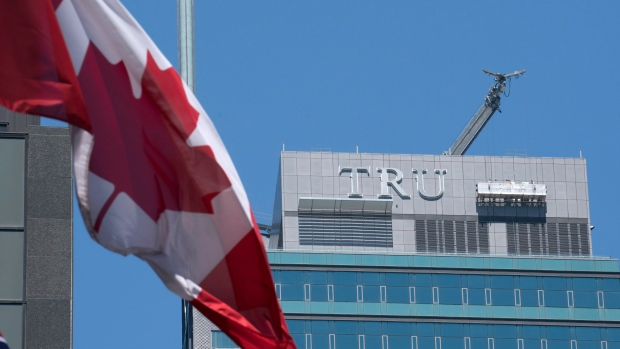 The sign was taken down from the former Trump International Hotel in Toronto on July 18, 2017