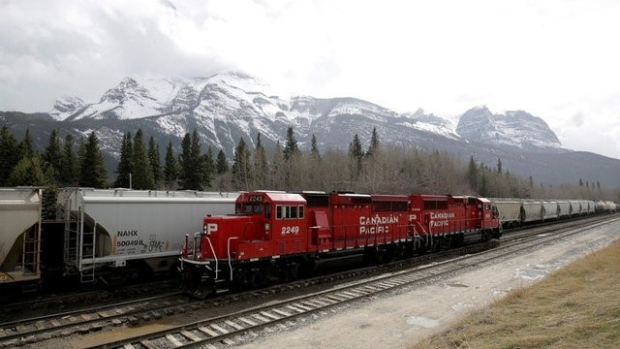A CP Rail train stopped on the tracks near Canmore, Alberta