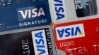 Visa  credit and debit cards are seen in Baltimore.