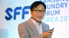 ES Jung, executive vice president and head of Samsung ElectronicsÕ foundry business speaks at a Samsung event in Seoul