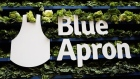 The Blue Apron logo is pictured ahead of the company's IPO on the New York Stock Exchange