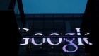 The sign marking the Google offices is lit up in Cambridge, Massachusetts