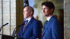 Prime Minister Justin Trudeau holds a press conference with Premier of British Columbia John Horgan