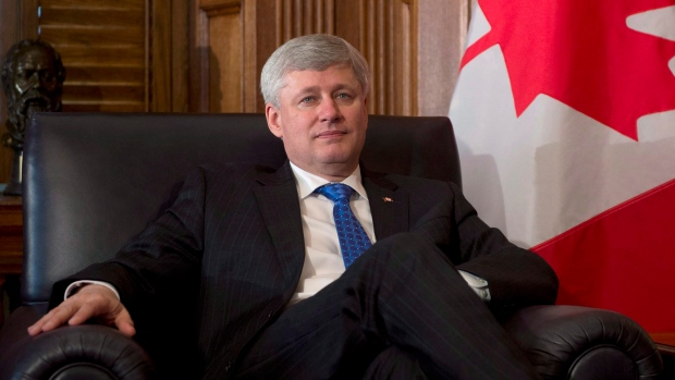 Canadian Prime Minister Stephen Harper before a meeting with India's High Commissioner Designate