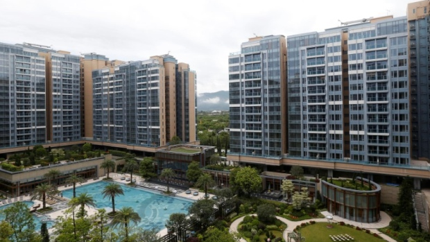 Newly built Park Yoho Genrova by major developer Sun Hung Kai Properties is seen in Hong Kong.