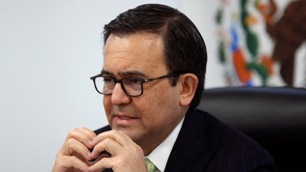 Mexico's Economy Minister Ildefonso Guajardo gestures during the presentation of Mexico's negotiatin