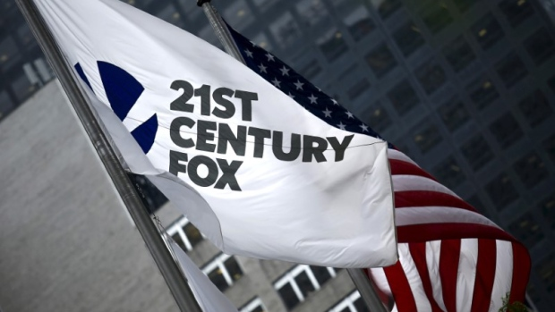 The flag of the Twenty-First Century Fox Inc is seen waving at the company headquarters in Manha