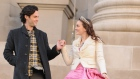 "Actors Leighton Meester, right, and Penn Badgley are shown on the set of ""Gossip Girl"" at the Metrop"