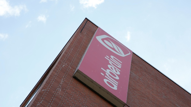 An Air Berlin sign is seen at their headquarters in Berlin