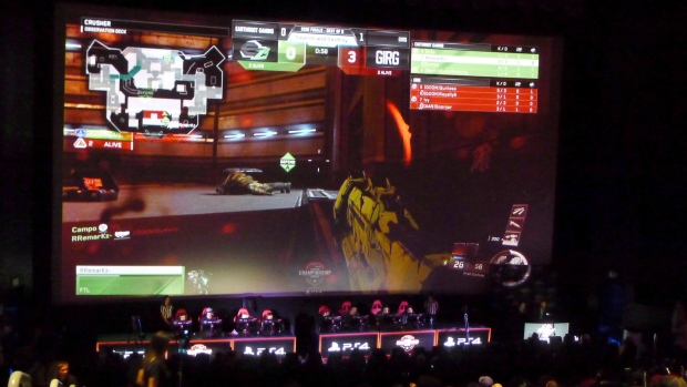 "People compete during the WorldGaming ""Call of Duty: Infinite Warfare"" tournament final in Toronto"