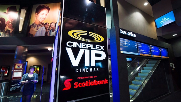 An employee is shown at the Cineplex Entertainment company's annual general meeting in Toronto