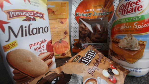 This photo shows pumpkin spice products ranging from cookies & donuts to candy & air freshener