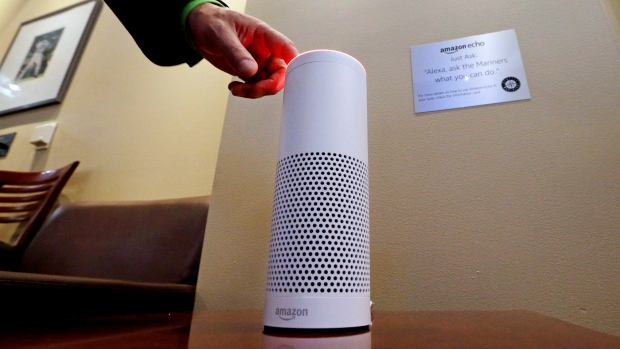 an Amazon Alexa device is switched on for a demonstration of its use in a ballpark suite