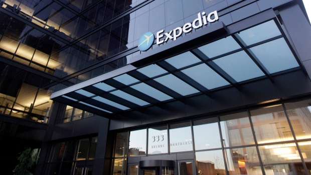 A building housing Expedia is seen in Bellevue, Washington