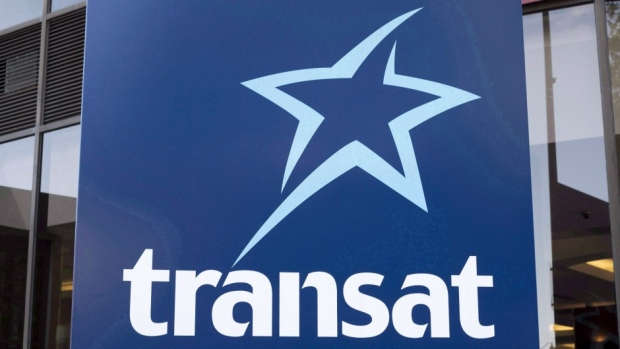 An Air Transat sign in Montreal, QC.