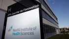 A logo is pictured outside the Nestle Institute of Health Sciences in Lausanne, Switzeralnd