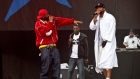 Members of The Wu-Tang Clan perform at the 2011 Glastonbury Festival.
