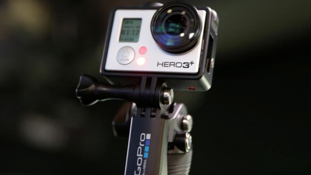 A Go Pro Hero 3+ camera is seen at the Nasdaq Market Site before before Go Pro Inc's IPO in New York City