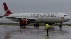 A Virgin Atlantic plane arrives at Liverpool John Lennon Airport in Liverpool northern England