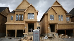 Houses under construction are seen at a subdivision near the town of Kleinburg