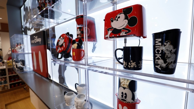 Mickey-Mouse-themed items are pictured at a Disney Store in Los Angeles, California, September 25, 2